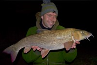 Deano braved the flooded river in search of barbel