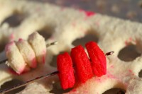 Mini fluoro boilies or bread punch work well as hook baits