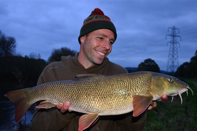 Dean displaying a beautiful Wye barbel
